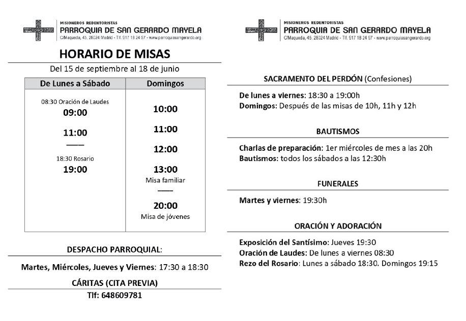 Horario de misas del 15 de septiembre al 18 de junio de 2021 en la Parroquia de San Gerardo