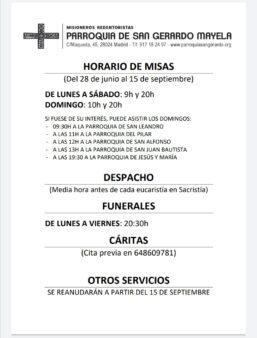 Horarios de la Parroquia de San Gerardo a partir del 28 de julio